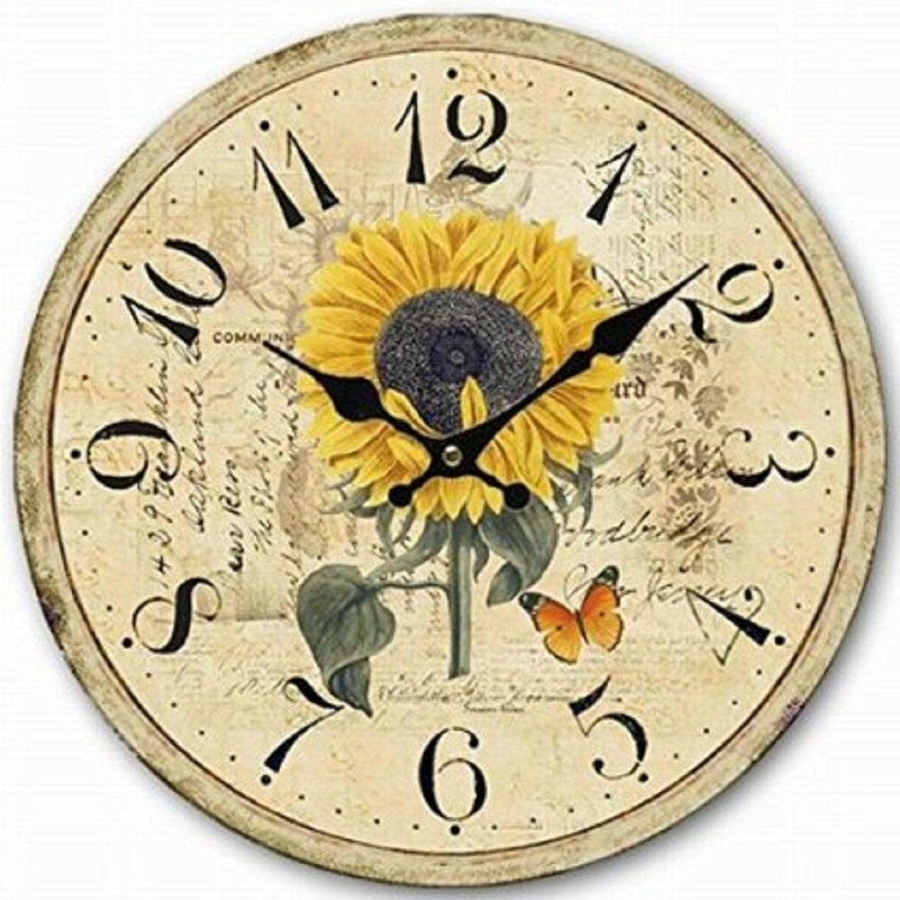 SkyNature 12 inch Silent Non-Ticking Wooden Wall Clock Quartz Movement Sunflower Flower and Butterfly