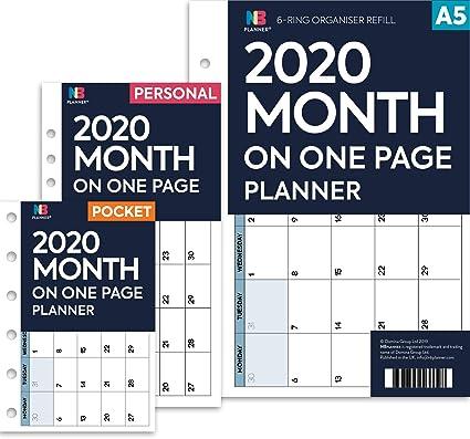 NBplanner® - Agenda de 2020, mes en una página, con ...