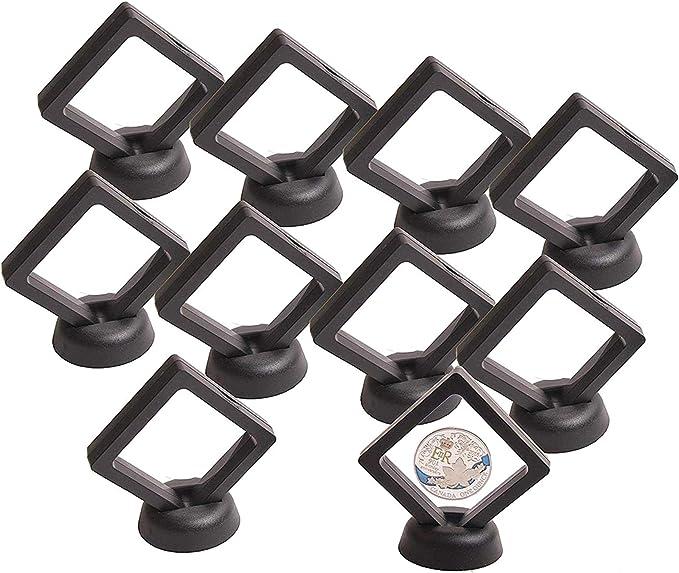 Negro, DULALA Coin Display Box 10PCS 3D Soporte de Pantalla de Marco Flotante con Soportes para Monedas Challenge medallones AA 2.75 x 2.75 x 0.75 Pulgadas Joyas