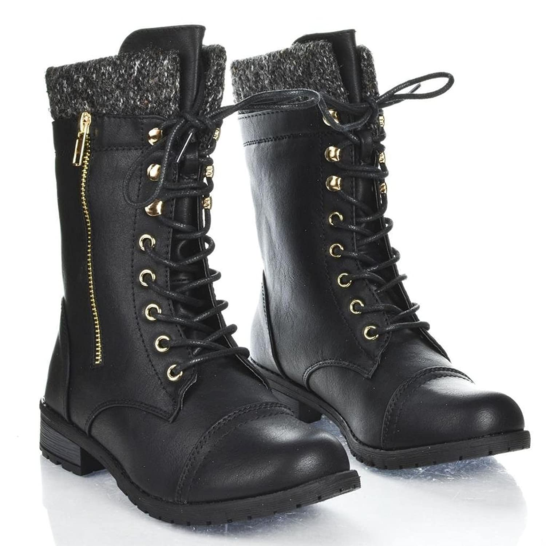 Amazon.com | Forever Link Womens Mango-31 Round Toe Military Lace ...