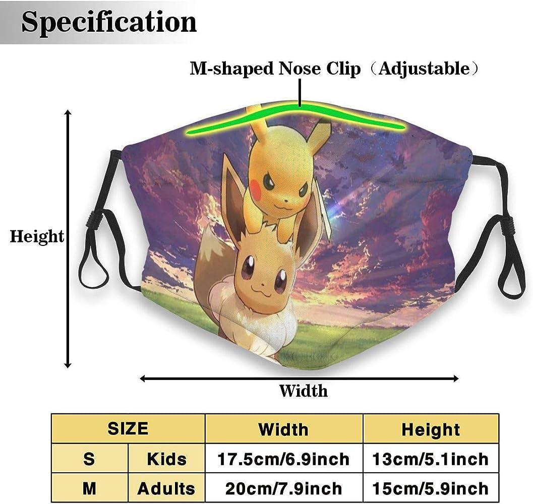 DonBerr - Mascarillas de pokemon de algodón lavable reutilizable, para proteger la cara de la boca bandana pasamontañas de polvo unisex para adultos gran regalo: Amazon.es: Ropa y accesorios