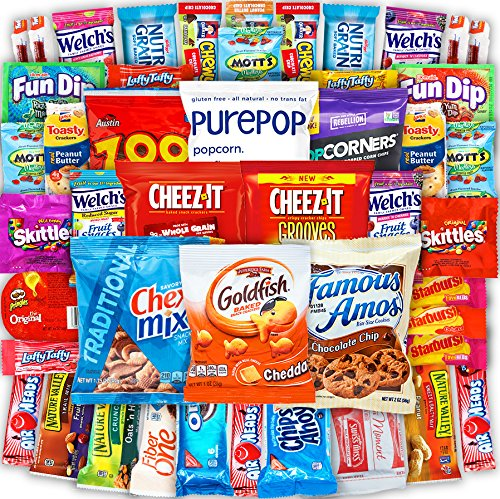 Canopy Snacks - Bulk Snacks (50 Count) Care Package – Variety Snack Box Gift Pack – Assortment Bundle with Chips, Candy and Cookies for College Students or the (Road Trip Gift Box)