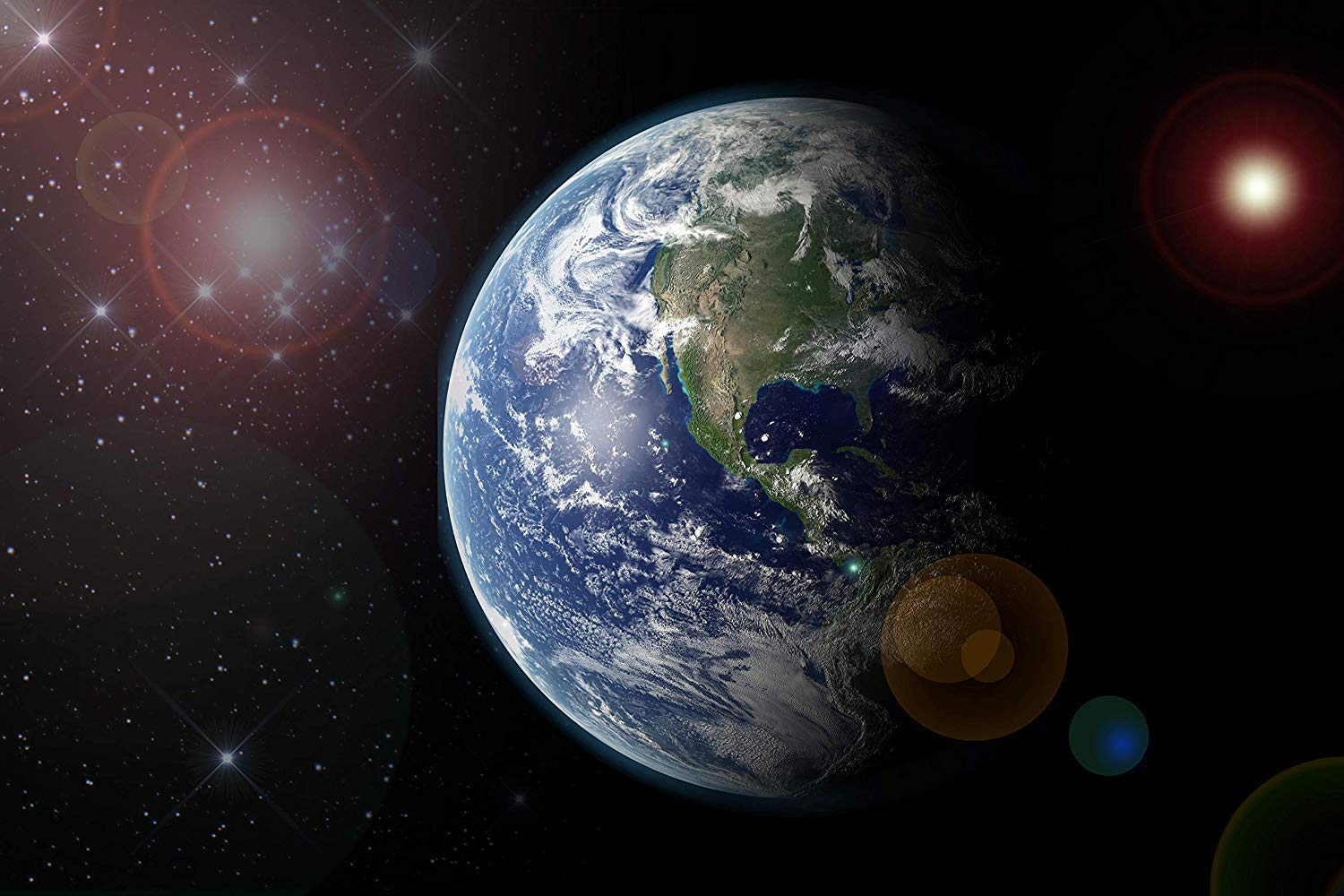 Space View :: Earth Over North America from a Million Miles Away. Laminated Art Print Poster