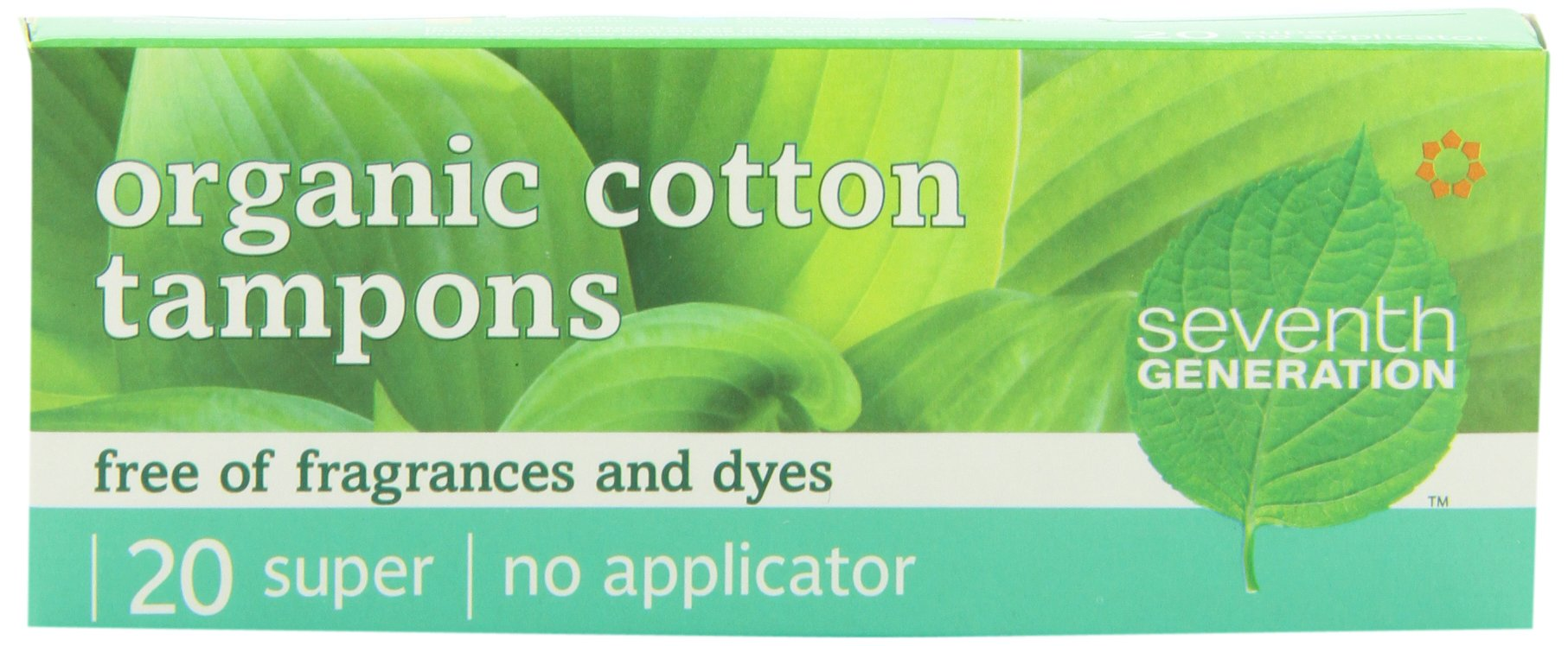Seventh Generation Chlorine Free Organic Cotton Tampons, Super, non-applicator, 20-count packages (Pack of 12) (240 tampons)