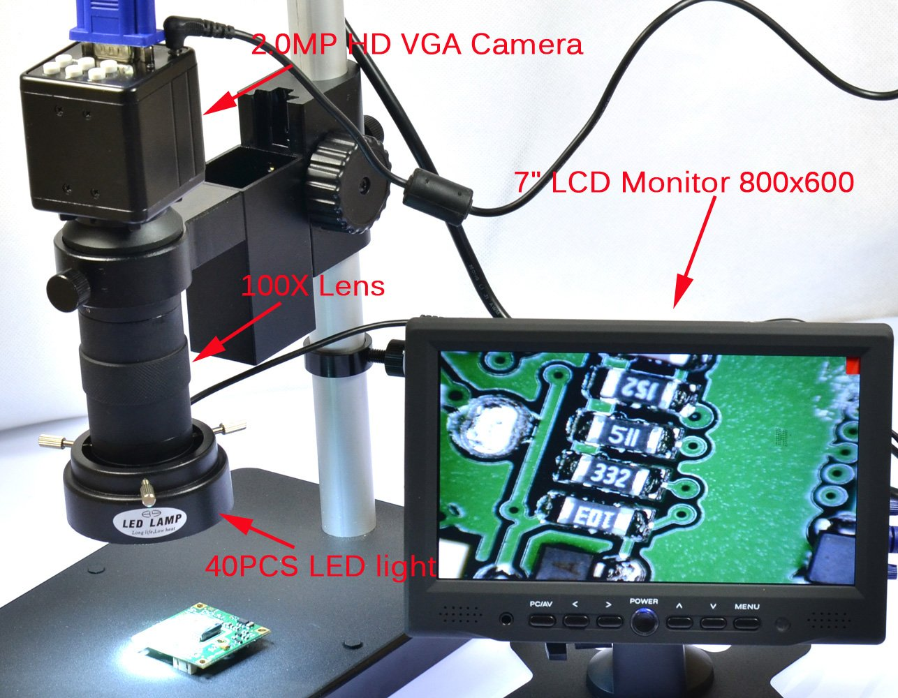 2.0MP HD Digital C-mount Industry Microscope Camera VGA Output Lab 1920x1080