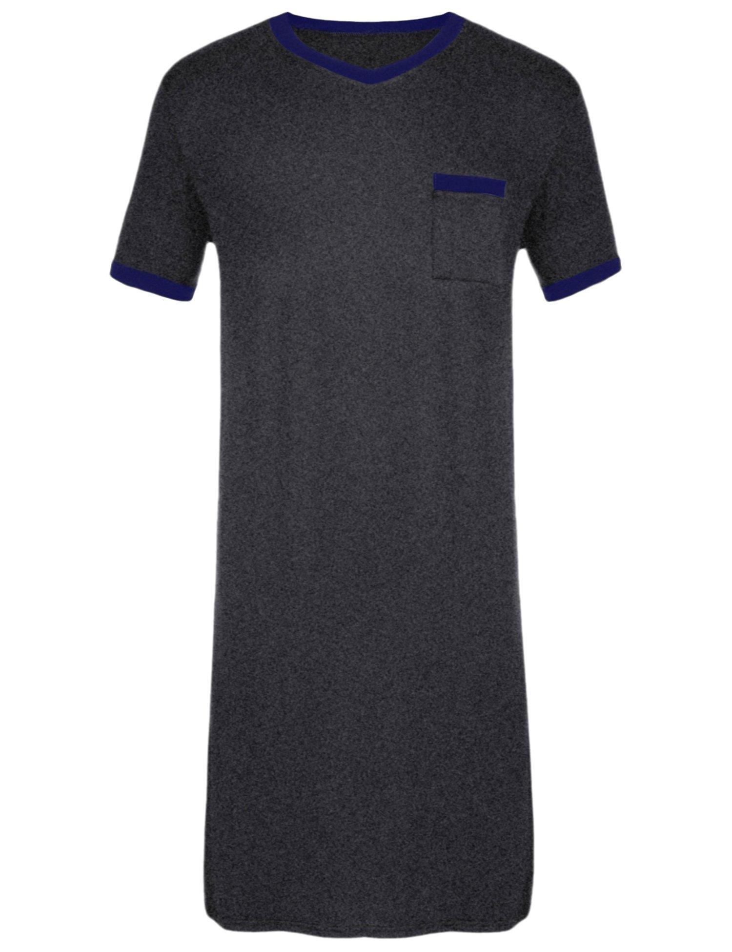 Ekouaer Mens Cotton Nightshirt Big & Tall Stripe Henley Sleep Shirt Sleepwear,Dark Grey-6717,XX-Large by Ekouaer