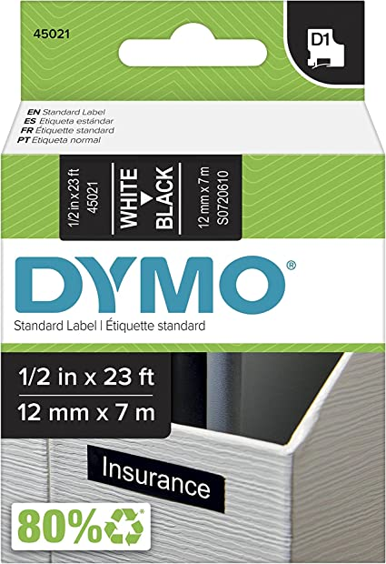 """3PK 45020 White on Clear Label Tape for  DYMO Labelmanager 160 200 1//2/"""" 12mm"""