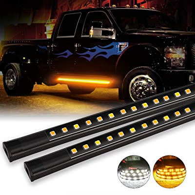 OFFROADTOWN 2pcs 70 Inch Truck Light LED Board Running Light for Extended & Crew Cab Trucks White/Amber Turn Signal Side Marker & Courtesy LED Lighting Strips Running Lights Kit for Trucks Pickup SUV: Automotive