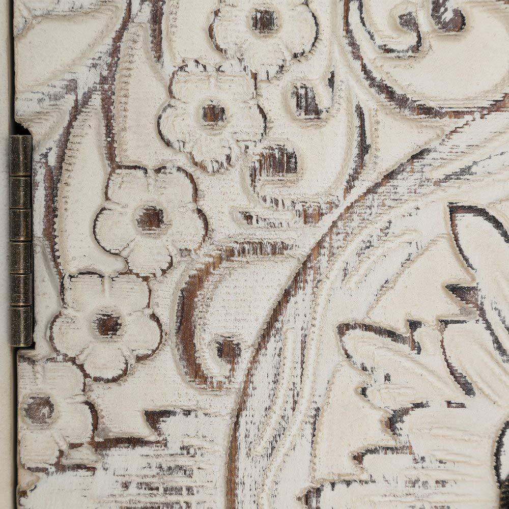 Ancho: 26 Cm contrachapada Lola Home Consola Blanca de Madera con 6 cajones y 2 Puertas Oriental para la Entrada Sol Naciente-LOLAhome Largo: 63 Cm Alto: 80 Cm