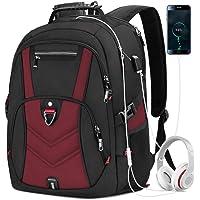 Mochila Laptop Mochila para Portátil de 17 Pulgadas con Puerto de Carga USB Impermeable al Aire Libre Mochila de 45L Mochila Antirrobo Mochilas para Estudiantes de Negocios Mochila de Viaje Grande para Hombres Mujeres Rojo