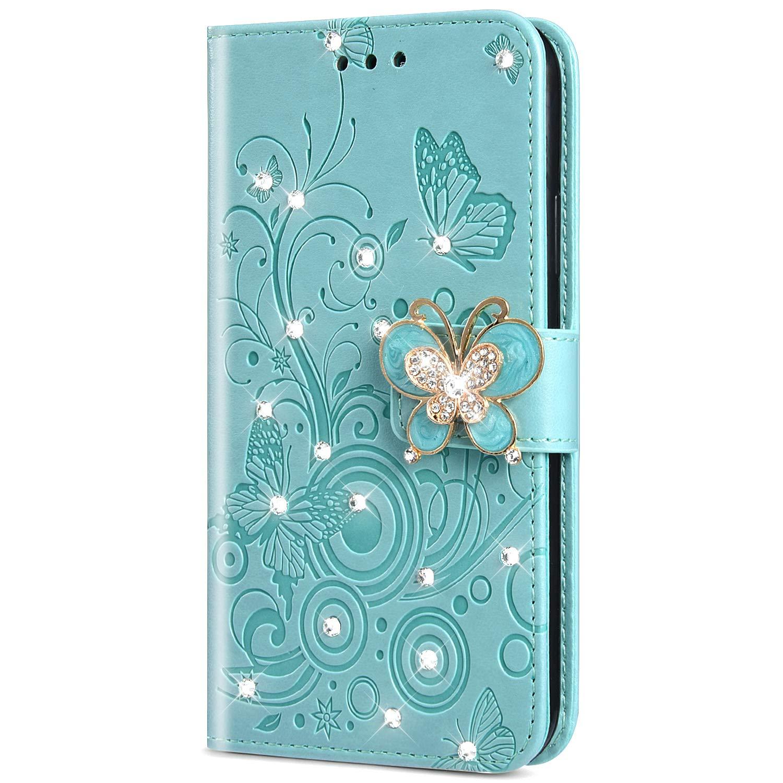 KunyFond 3D Papillon Etui PU Cuir Housse /à Rabat Portefeuille Paillettes Glitter Diamant Strass Coque Leather Fentes Carte Bumper Holster Couverture Compatible avec Xiaomi Pocophone F1,Or rose