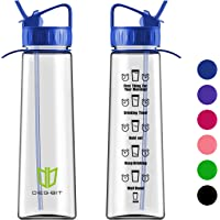 Degbit Water Bottle, [900ml] BPA Free Motivational Straw Sports Water Bottle with Time Markings Helps You Hydrate, Non-Leak, Durable Tritan Cycle Drinks Water Bottles For Adult & Kids