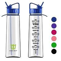 Degbit Wasserflasche, [BPA-freiem Tritan] Eco Friendly Kunststoff Trinkflasche Sport, Flasche ca. 1L, Sportflasche Auslaufsicher, Fahrradflasche Trinkflaschen Kinder mit Strohhalm