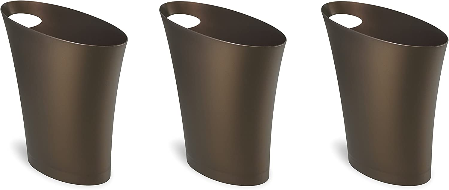 Umbra Skinny Sleek & Stylish Bathroom Trash, Small Garbage Can Wastebasket for Narrow Spaces at Home or Office, 2 Gallon Capacity, Bronze, 3-Pack