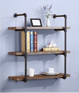 OK Furniture 3 Tier Industrial Vintage Pipe Bookshelf Rustic Shelves For Home Kitchen