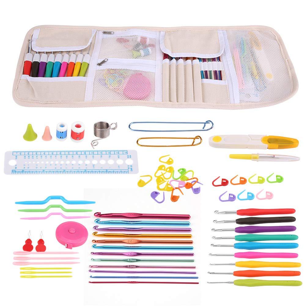 Mootea Knitting Cable Stitch Needle Kit Crochet Hook Marker Tape Measure Weaving Tool Set