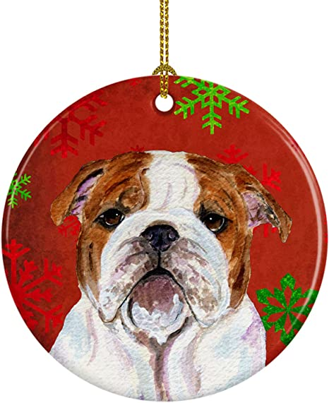 Amazon Com Caroline S Treasures Ss4691 Co1 Bulldog English Red Snowflakes Holiday Christmas Ceramic Ornament Ss4691 3 In Multicolor Caroline S Treasures Home Kitchen