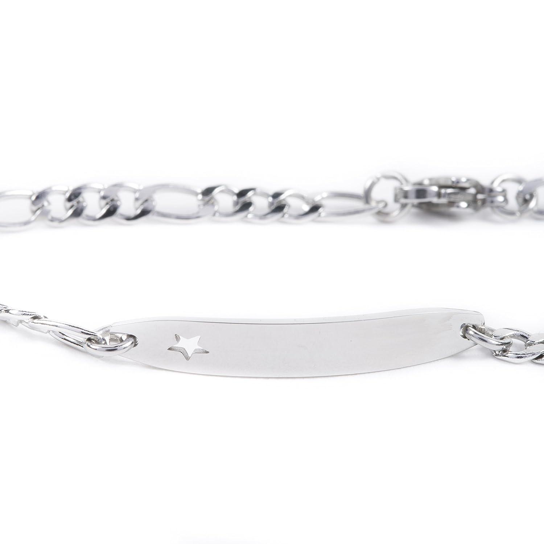 AURSTORE/® Bracelet gourmette identit/é ajour/é dune /étoile en acier inoxydable enfant b/éb/é maille figaro