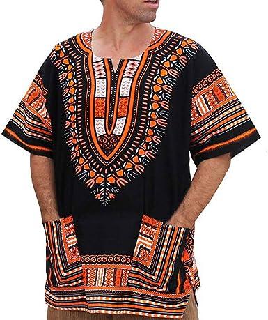 Unisex African Bright Dashiki Cotton Shirt Bohemian Vintage Loose Bell  Sleeve Tribal African Top Shirt | Amazon.com