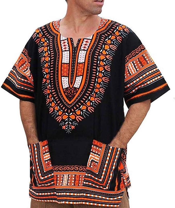 Camiseta de los Hombres,RETUROM Hombres Verano Vintage Impresión Africana Bolsillos de Manga Corta O Cuello Tops Camisa Blusas: Amazon.es: Ropa y accesorios