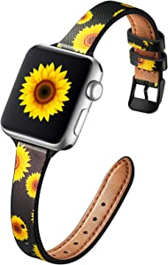 Muranne Compatible with Apple Watch Band SE 40mm 38mm for Women, Cute Pattern Printed Floral Genuine Leather Bands Replacement Wristbands for iWatch Series 6 5 4 3 2 1, Sunflower / Black