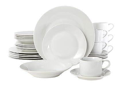 Gibson Rosendal 30 Piece Round White Dinnerware Set White  sc 1 st  Amazon.com & Amazon.com | Gibson Rosendal 30 Piece Round White Dinnerware Set ...