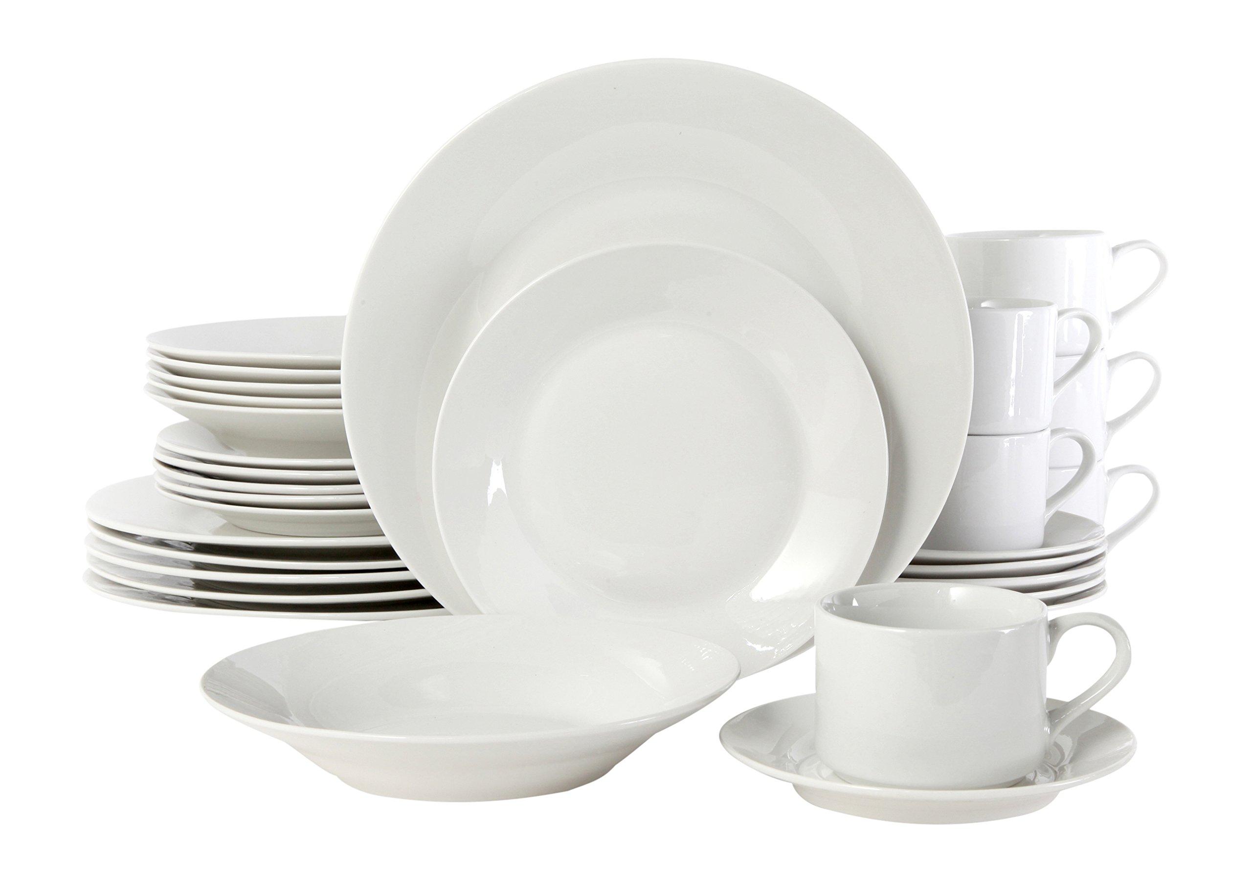 Gibson Home 100086.30RM Rosendal 30 Piece Round Dinnerware Set, White