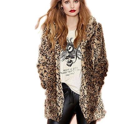 8c4518bff7fe Pelzmantel Damen Kurz Winterjacken Leopard Streifen Design,AKAUFENG  Felljacke Damen Faux Fur Jacke  Amazon.de  Bekleidung
