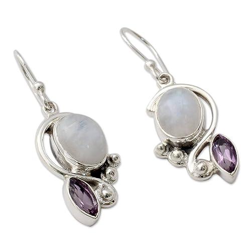 NOVICA Rainbow Moonstone Amethyst .925 Sterling Silver Dangle Earrings Yours Forever