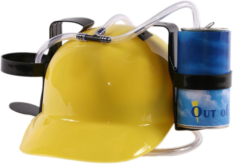 cappello a elmetto per birra e bibite con 2 supporti per lattine e tubo Blu Hibuy