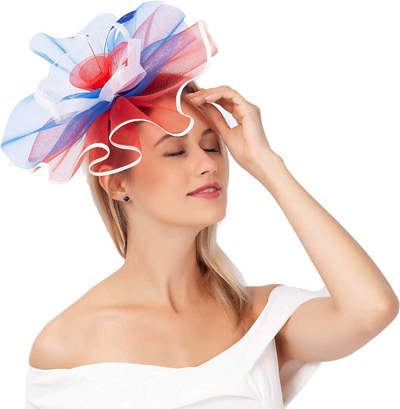 Fascinators Hats for Women Big Mesh Flower on a Hairband Tea Party Hat for Girls