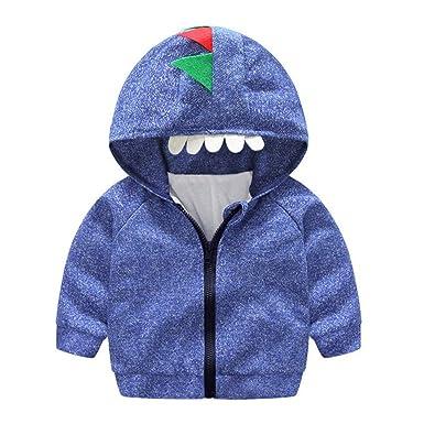 Mitlfuny Invierno Otoño Niñas Niños Bebés Chaqueta de Manga Larga Algodón Abrigo con Capucha Dinosaurio Sudadera