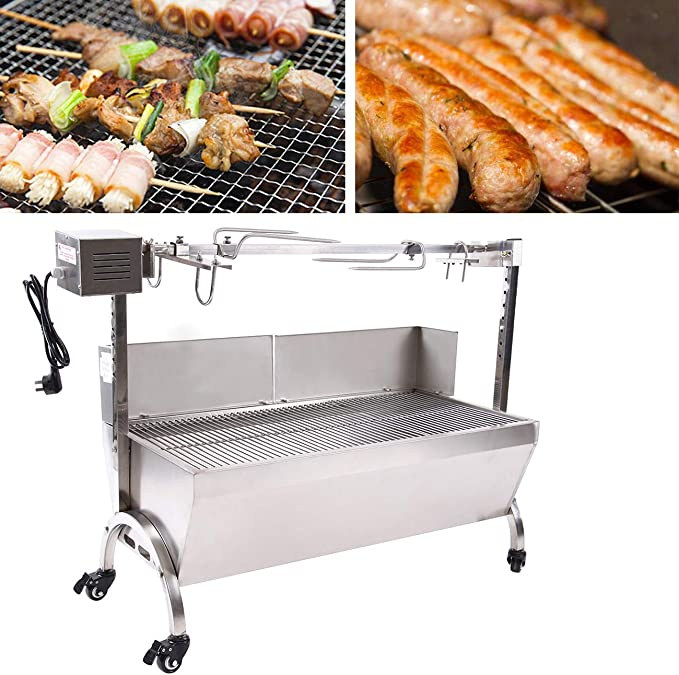 """42/"""" 88 Lbs Stainless Lamb Roaster Rotisserie Spit 18W BBQ Pig Goat Wind Shield"""