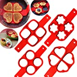 Lanyani 2-pack Silicone Perfect Pancakes Mold Nonstick Egg Ring Maker Breakfast Pancake Shaper – Round and Heart shape, flower and oval (Heart and Oval)