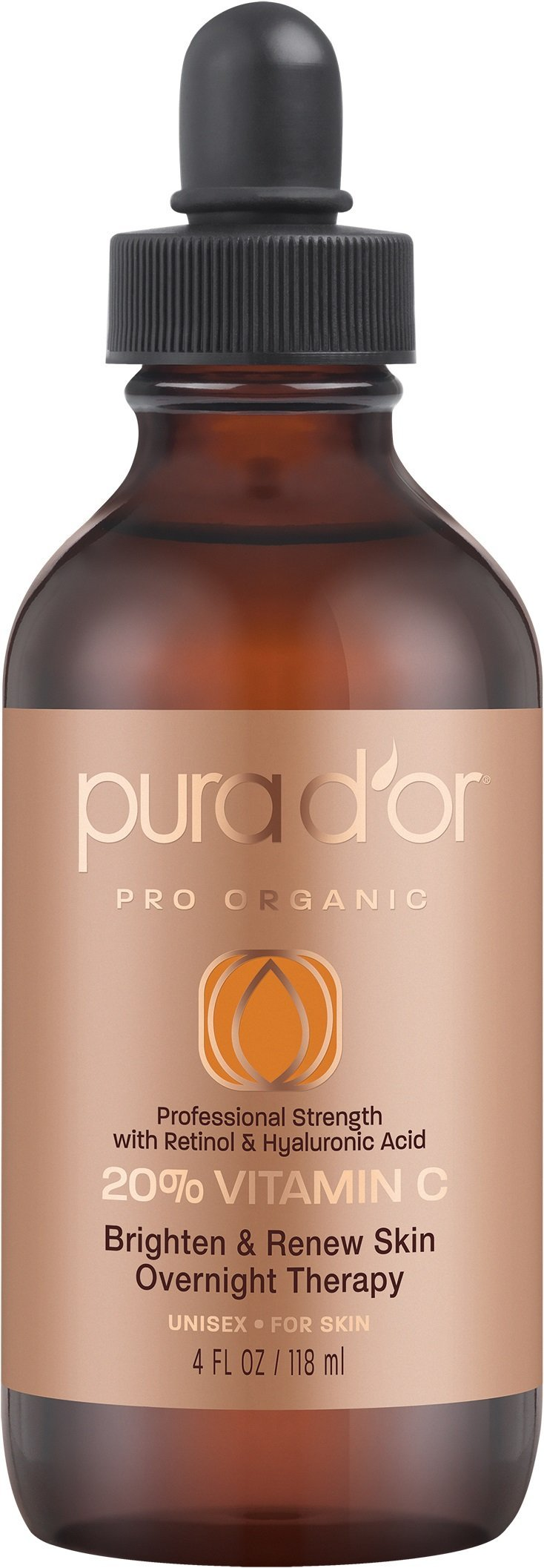 PURA D'OR 20% Vitamin C Serum Professional Strength Anti-Aging Skin Therapy Organic Argan Oil, Hyaluronic Acid & Vitamin E, 4 Fluid Ounce