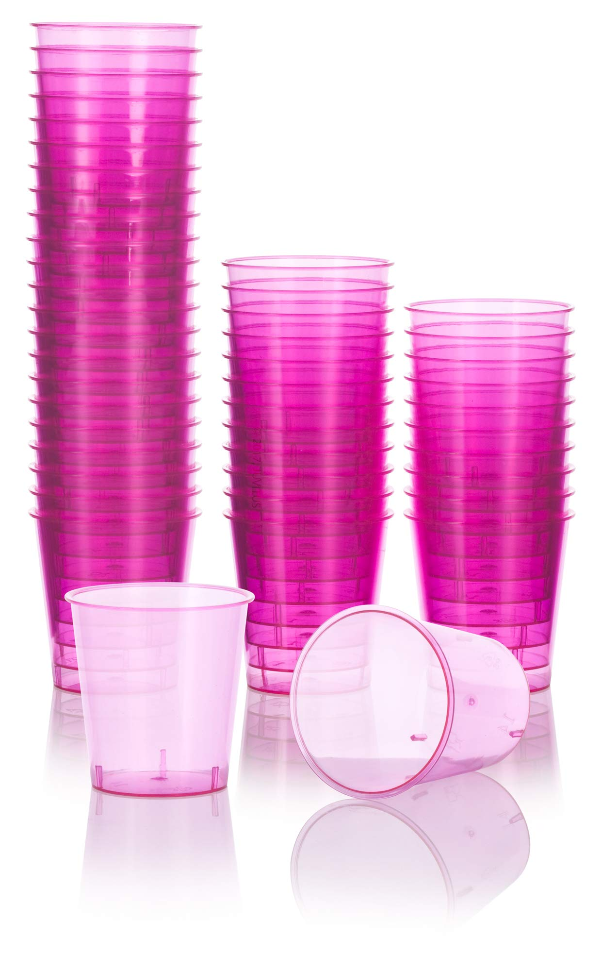 Pink Plastic Shot Cups Great for Weddings, Parties, Picnics or Party Favors (48 Pack) Size 1 oz by JUVITUS