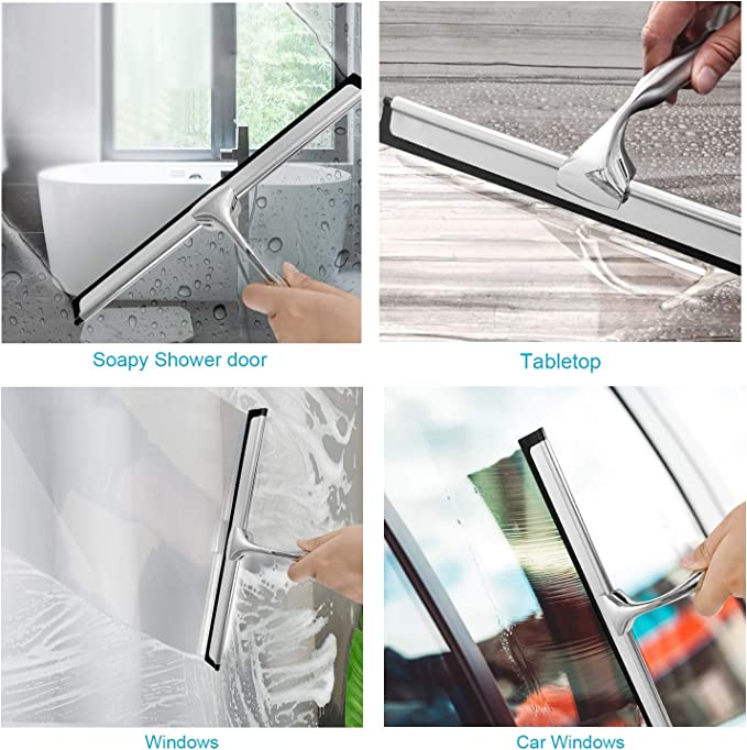 Senders – Rasqueta de ducha, acero inoxidable, limpiacristales, limpiacristales sin taladrar, para cuarto de baño, espejo, coche, cristal, azulejos: Amazon.es: Hogar