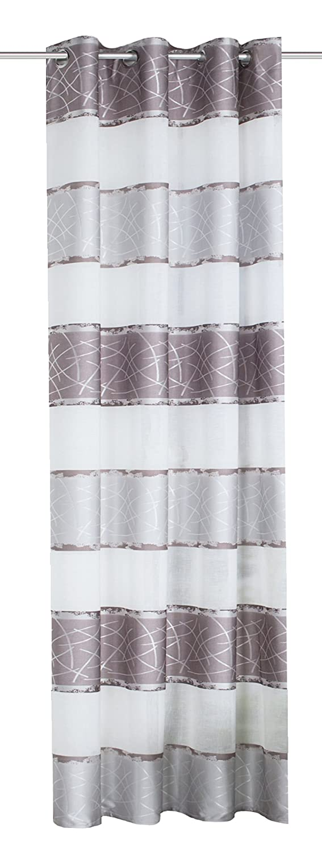 Home Fashion Tissu d'ameublement Paysage avec Rayures Horizontales Rideau à œillets, Polyester, Gris, 145x 140cm 053909-0301 145 x 140 cm