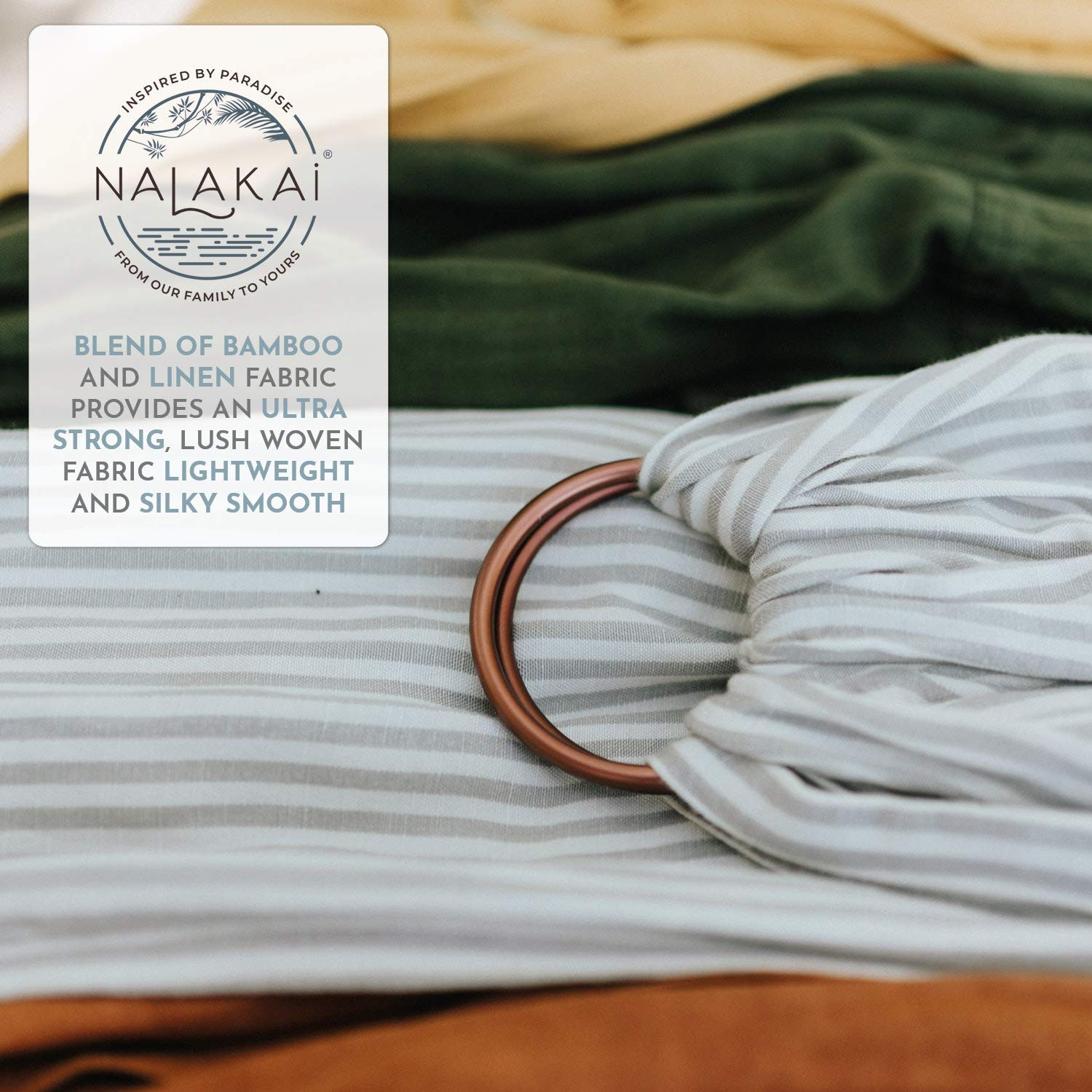 Nalakai Luxury Ring Sling Baby Carrier Nursing Cover Extra-Soft Bamboo and Linen Fabric Black Perfect Baby Shower Gift Lightweight Plus Size Infant Carrier Also for Newborns and Toddlers