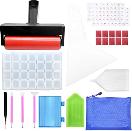 41 Pieces Premium 5D DIY Diamond Painting Tools and Accessories Kits with 24 Slots Diamond Embroidery Box and Roller for Art Craft Adults