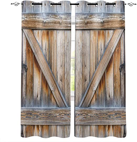 Amazon Com Window Treatments Curtains Room Window Panel Set For Living Dining Bedroom Rustic Old Wooden Barn Door 40 By 63 Inch 2 Panels Home Kitchen