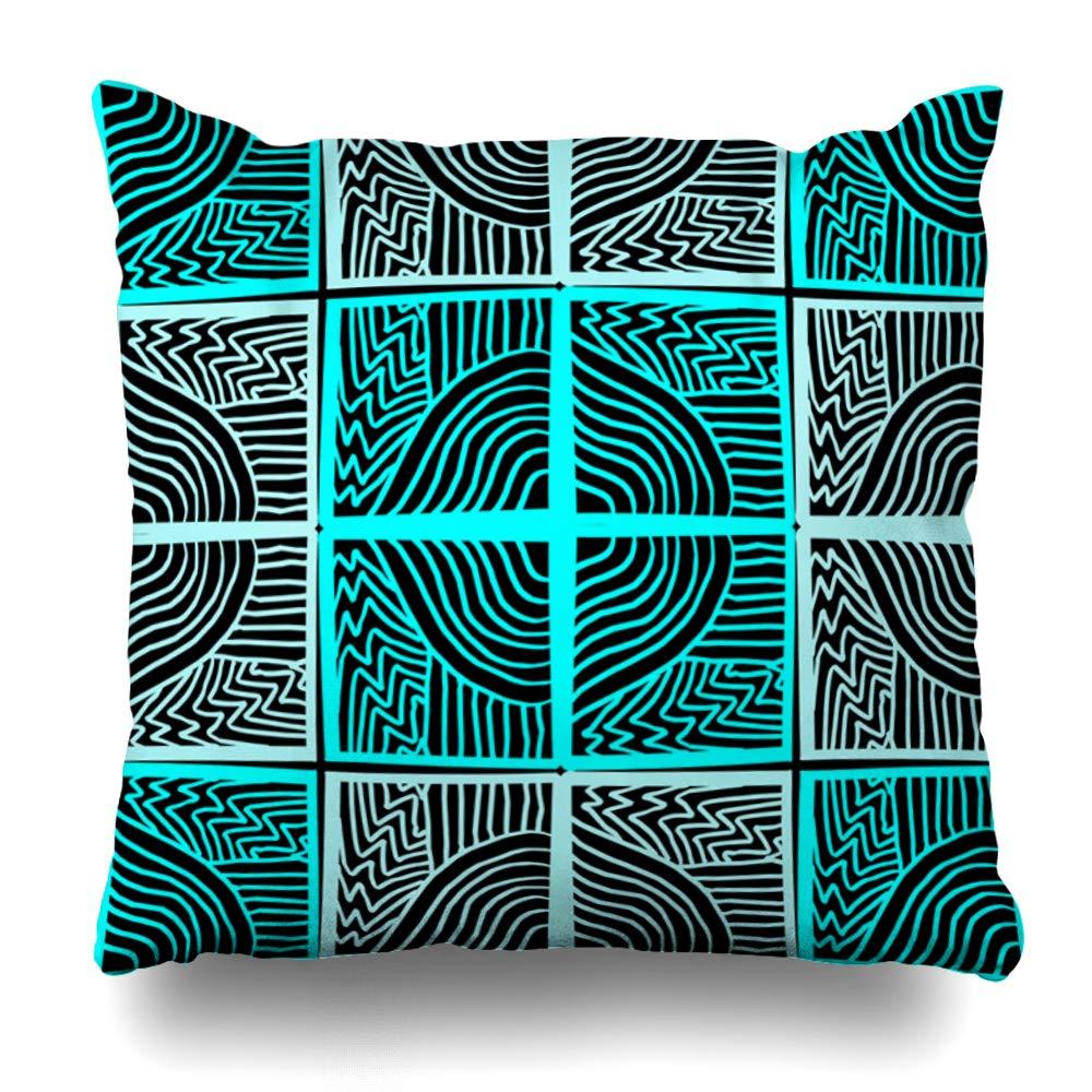 Ahawoso クッションカバー インディアン アフリカ 部族 幾何学模様 抽象的 アメリカン アステカ ブラック 文化デザイン アート 装飾的 枕カバー L Multi Square 20x20インチ 16\ まとめ買い特価 シルバー ホームインテリア 正方形 16
