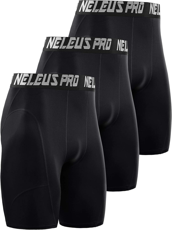 Neleus Mens 3 Pack Dry Fit Compression Shorts