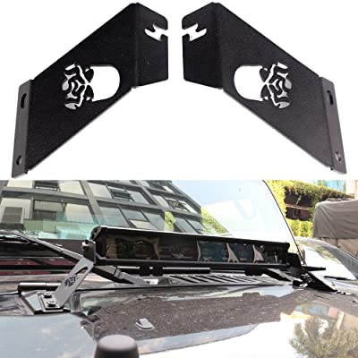 HOZAN Aftermarket Windshield Hood Mounting Bracket for 20-22inch LED Light Bar for Jeep Wrangler JK 2007-2020: Automotive