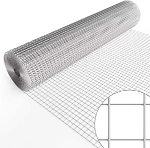 Amagabeli 48inch x 50ft Hardware Cloth 1inch Square Openings Hot-dipped Galvanized Welded Wire Diameter 17 Gauge Wire Mesh Fence Roll for Vegetables Garden Netting Rabbit Chicken Coop Animal Enclosure
