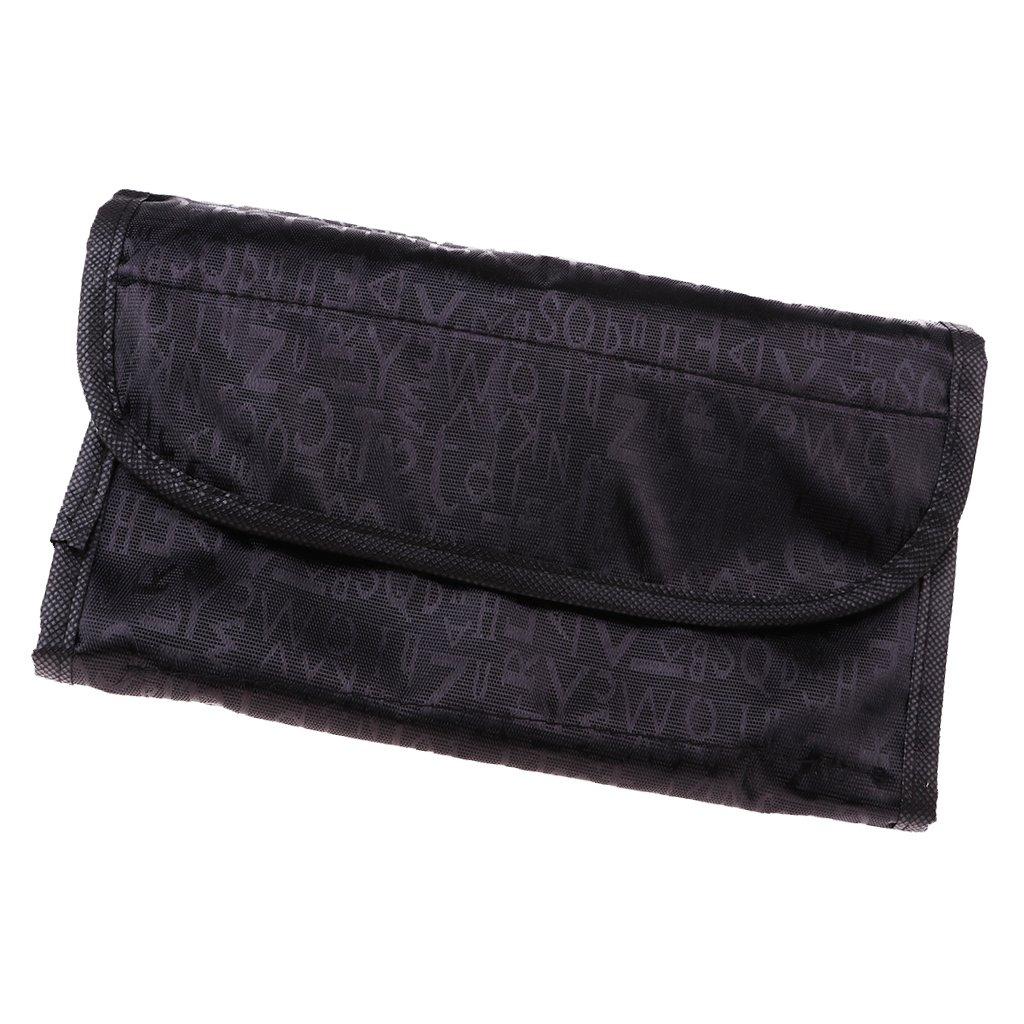 Baoblaze Trousse de Maquillage en Forme de Rouleau en Polyester Rangement de Cosmétique pour Maison Voyage - noir