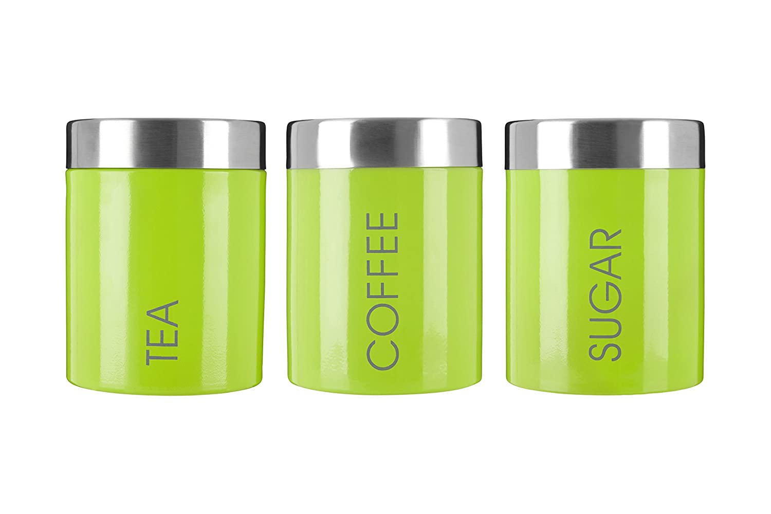 Premier Housewares Liberty Tea Coffee and Sugar Canisters - Set of 3, Lime Green 0507814