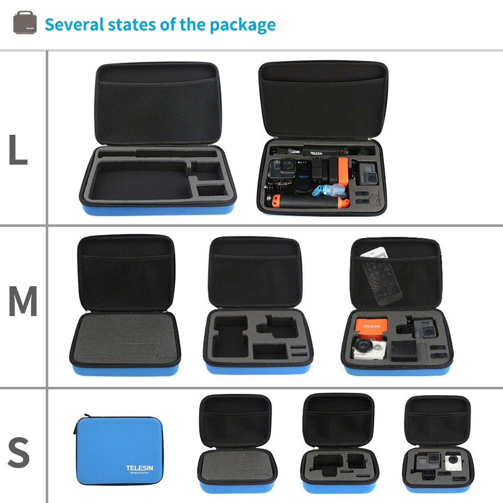TELESIN a prueba de golpes a prueba de golpes bolsa de viaje de transporte protectora para Gopro Hd Hero 6 5 4 3 Hd3 2 1 c/ámara y accesorios Gopro talla M