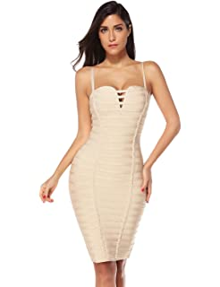 d7c6952680a Amazon.com  Meilun Women s Lace Up Bandage Dress Sexy Bodycon Club ...