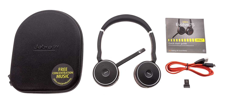 Jabra Evolve 75 cascos estéreo para oficina inalámbricos con Bluetooth®, negro: Amazon.es: Electrónica